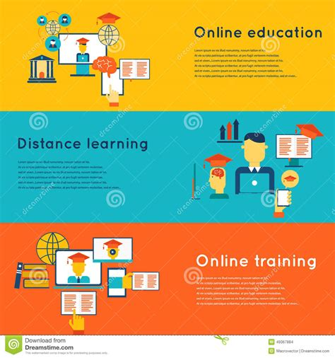themes in distance education online education banners set stock vector image 49367884