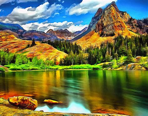 Mountain Home Decor by Green Mountain Bliss Landscape Painting Painting By Andres