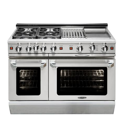 Oven Gas Stainless shop capital precision l 48 in 4 6 cu ft 2 cu ft self cleaning oven convection gas range