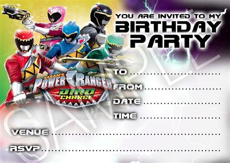 printable birthday invitations power rangers party invitations power rangers birthday party 10 cards