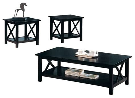 3 pc espresso finish wood coffee and end table set with