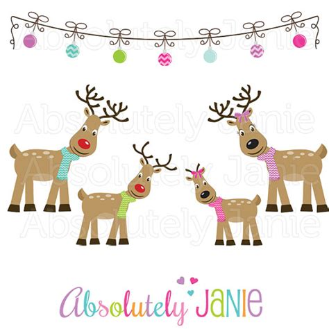 items similar to reindeer family clipart