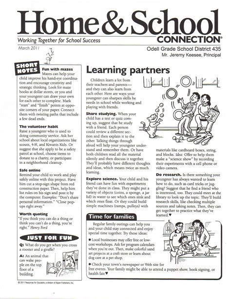 school newsletters templates march school newsletter templates learning theory