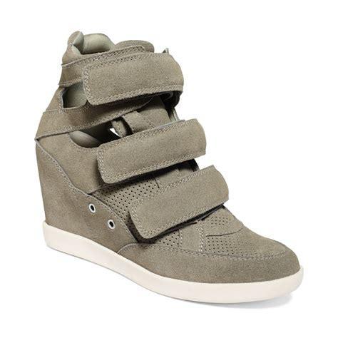 grey sneaker wedges guess herra platform wedge sneakers in gray grey lyst