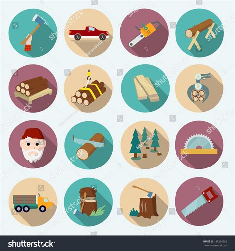 working tools flat icon set stock vector image 40282698 lumberjack woodcutter flat icons set of axe working tools