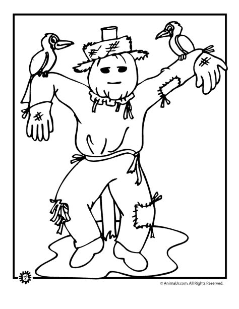 autumn animals coloring page scarecrow color page coloring home