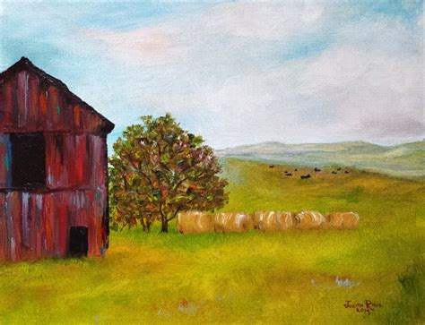 painting farm landscape original cow barn hay bales tree