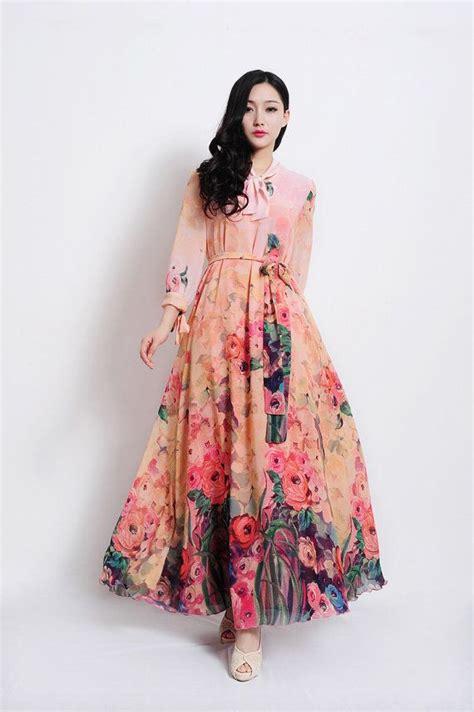bohemian pink floral print long sleeve   dress full