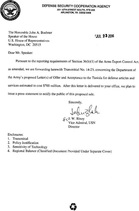 Transmittal Letter For Equipment federal register 36 b 1 arms sales notification