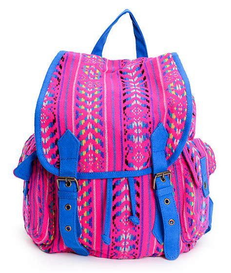 Backpack Tribal Blur barganza pink blue tribal print rucksack backpack