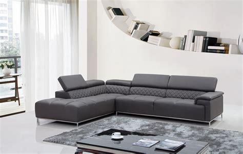 Divani Casa Citadel Modern Grey Leather Sectional Sofa Grey Leather Sofa Modern