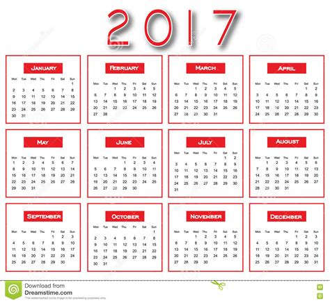2017 calendrier simple conception du calendrier