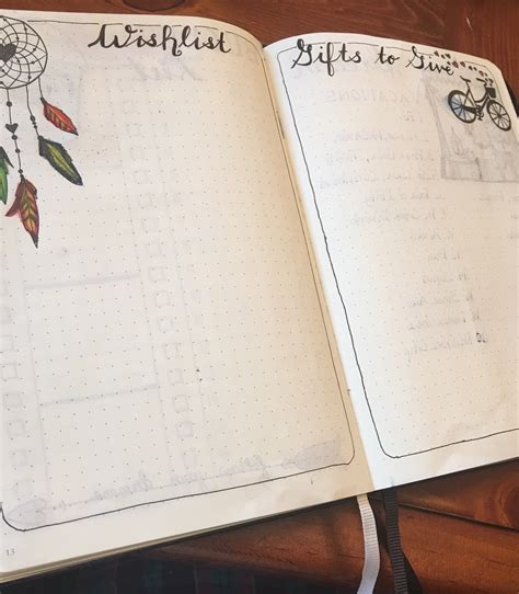 bullet gifts bullet journal bujo page layout wish list gifts to give