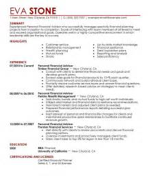 personal financial advisor resume exle finance sle