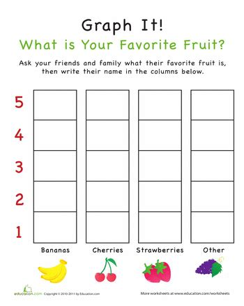 printable picture graphs kindergarten graph it what is your favorite fruit worksheets