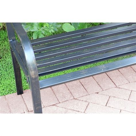 curved park bench jeco 50 quot w scroll curved back steel park bench in black and