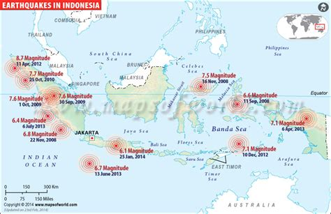 earthquake history map earthquakes in indonesia