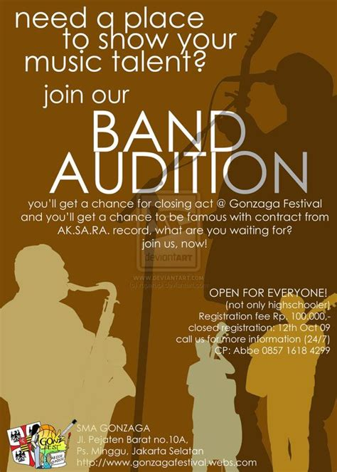 band audition flyer templates google search resources