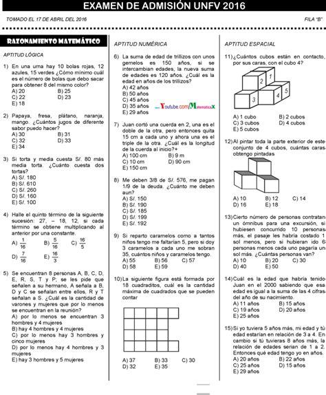 preguntas de matematicas en examen de admision examen admisi 211 n villareal universidad solucionario 2016