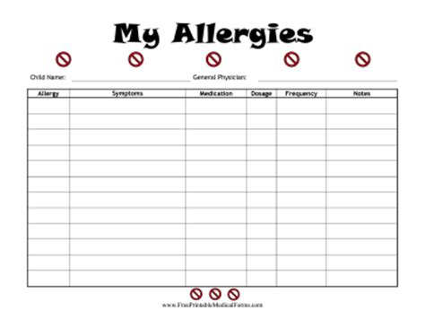 printable child allergies log