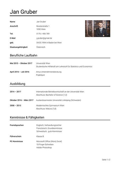 Lebenslauf Bsp by Lebenslauf Beispiel 214 Sterreich Vorlage Studieren At