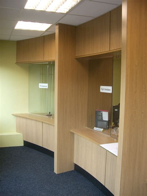 reception desk security screens main reception in oak veneer with glazed security