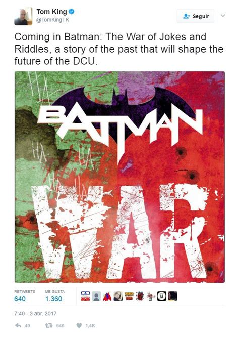batman vol 4 the war of jokes and riddles rebirth books batman escritor revela detalles pr 243 ximo c 243 mic
