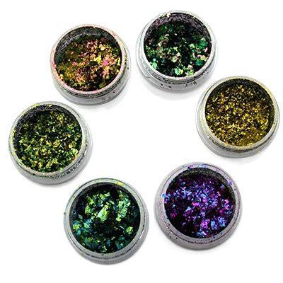 polveri glitter e unghie fashioniamoci kit 6 polveri chameleon flakes pics nails