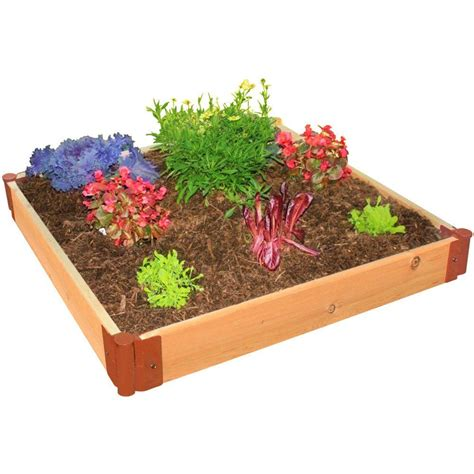 Frame It All Raised Garden Bed Kit Frame It All One Inch Series 4 Ft X 4 Ft X 6 In Cedar Raised Garden Bed Kit 300001108 The