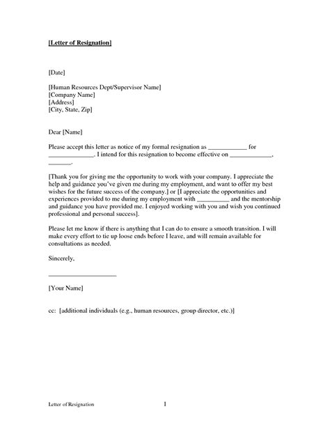 Free Printable Letter Of Resignation Form Generic Free Printable Resignation Templates