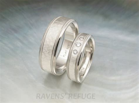 platinum his and hers wedding bands with milgrain by