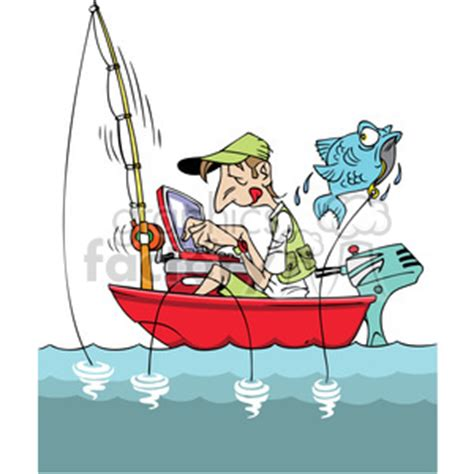 cartoon man in boat fishing royalty free cartoon man fishing in a small boat with