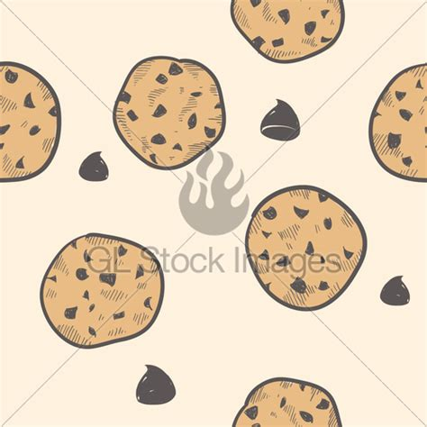 cookie doodle seamless chocolate chip cookie vector background 183 gl
