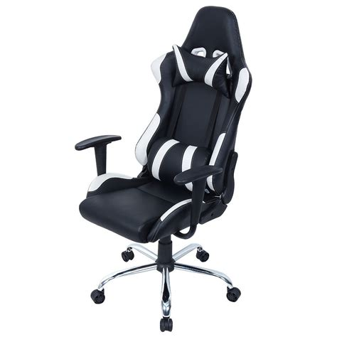 Office Chairs Vs Gaming Chairs Costway Black And White Gaming Chair Office Chair Race