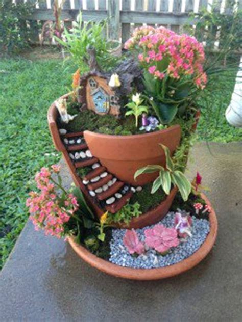 build  dont buy  diy broken pot fairy garden
