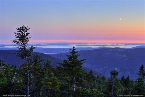 moon cadillac cadillac mountain twilight with moon southwest harbor