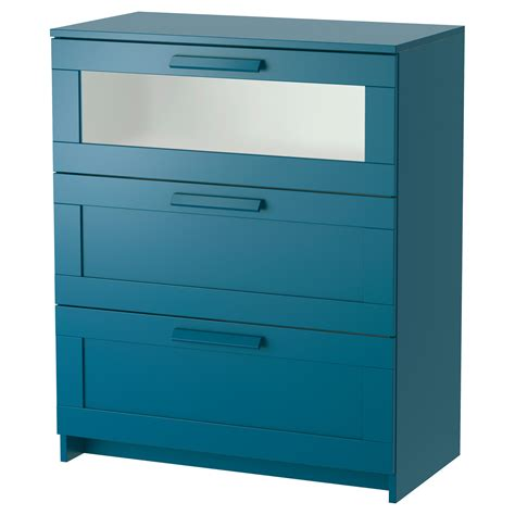 brimnes chest of 3 drawers green blue frosted glass