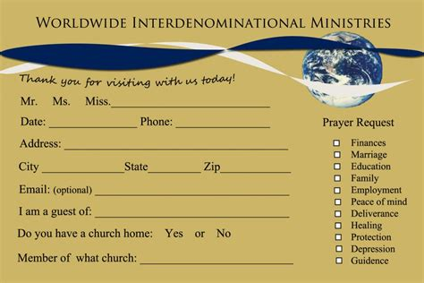 Church Visitor Card Template Downloads by 8 Church Connection Card Templates