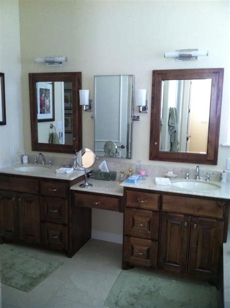 split vanities   knee space master bathroom