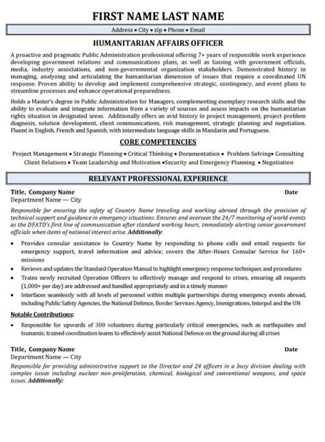 simple resume for government humanitarian affairs resume sle template