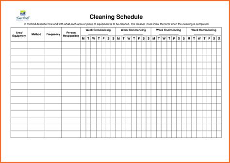 sle cleaning schedule template schedule format weekly blank schedule template free