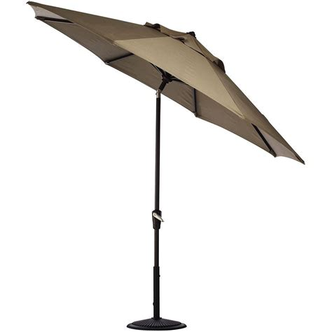 11ft Patio Umbrella Hton Bay 11 Ft Solar Offset Patio Umbrella In Cafe Yjaf052 Cafe The Home Depot