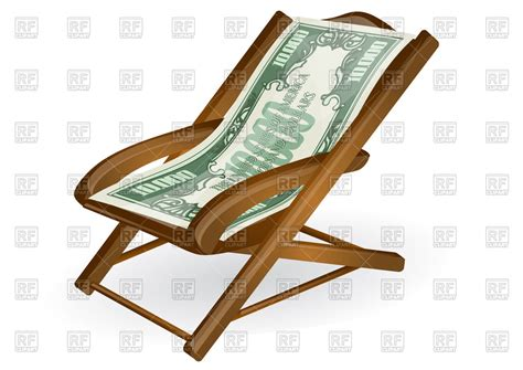 clipart pensione pension concept wood chair with money royalty free