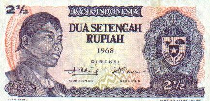 Uang Kertas Dua Setengah Rupiah Tahun 1968 uang kertas indonesia keluaran tahun 1968