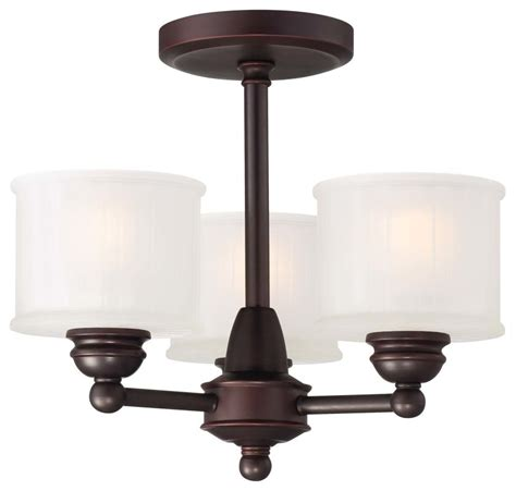 Minka Lavery Lighting Fixtures Minka Lavery 1738 167 Lathan Bronze 3 Light Semi Flush Ceiling Fixture From The 1730 Collection