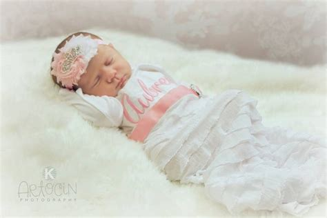 personalized newborn take home gown headband set
