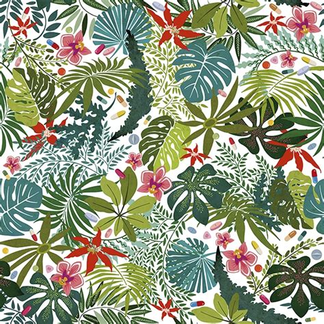 Tapisserie Fleurie by Papier Peint Para 237 Sos Artificiales Vert Et Anima