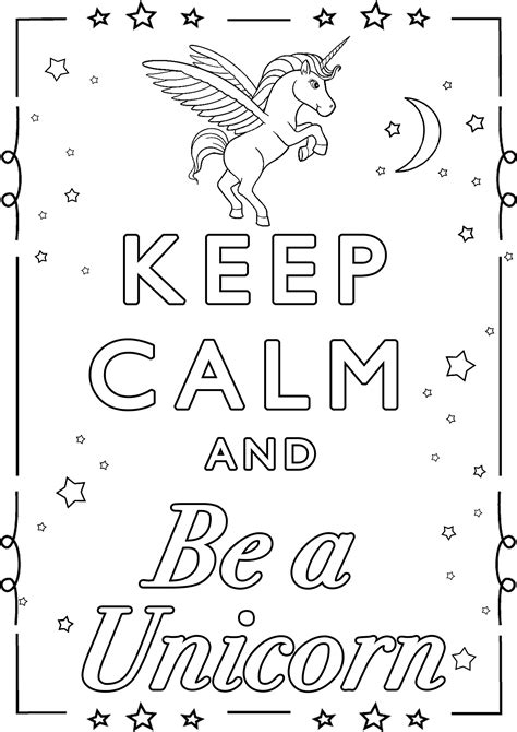 calm    unicorn  calm adult coloring
