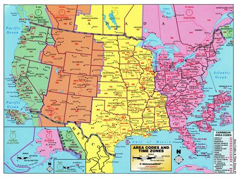 time zone map of usa large detailed map of area codes and time zones of the usa