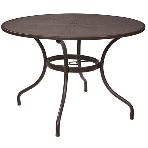 Patio Furniture Table Hton Bay Mix And Match 42 In Mesh Outdoor Patio Dining Table Fts60704 The Home Depot